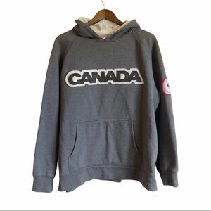 HUDSON BAY COMPANY 2006 Retro Olympic Canada Pull Over Hoodie Sweater Top Grey